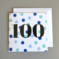 100th Birthday Card for Him - 100 - One Hundred -  Hundredth Birthday Card