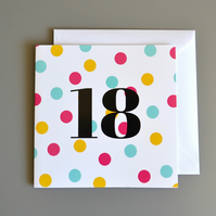 18th Birthday Card for Her - Eighteen - 18 - Eighteenth Birthday Card
