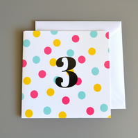 3rd Birthday Card for Girl, Age Three, Third Birthday Card