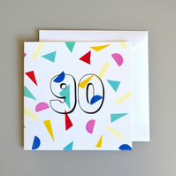 Confetti 90th Birthday Card