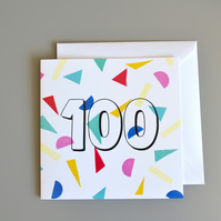 Confetti 100th Birthday Card