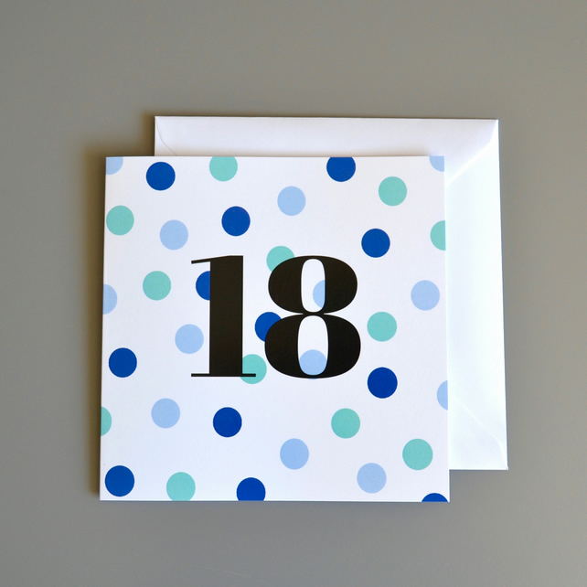 18th Birthday Card for Him - 18 - Eighteen - Eighteenth Birthday Card