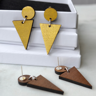 Wooden Gold-painted Two-part Dangly Earring with Triangle