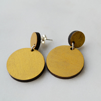 Double Circle Gold Painted Drop Earring