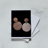 Double Circle Wooden Drop Earrings