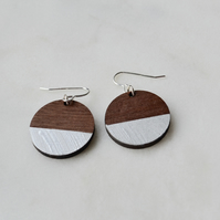 Wooden Circle Dangly Earring with Silver Leaf