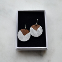 Wooden Quadrant Circle Dangly Earring with Silver Leaf