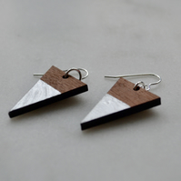 Wooden Triangle Dangly Earring with Silver Leaf