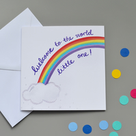 Welcome to the World new baby rainbow card