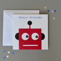 Happy Birthday Red Robot Card