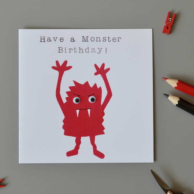 Have a Monster Birthday Red Monster with Googly Eyes Birthday Card
