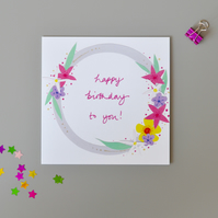 Happy Birthday Floral Garland Birthday Card