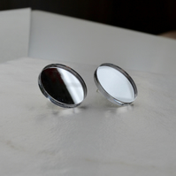 Large Silver Mirror Stud Earrings