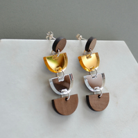 Statement earrings in walnut wood with silver and gold mirror acrylic