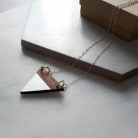 Wooden Triangle Contemporary  Necklace with Silver Leaf
