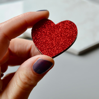 Big Red Glitter Wooden Heart Brooch
