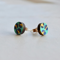 Hand painted leopard print wooden circle ear studs