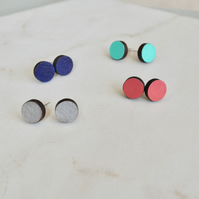 Mini painted circle stud wooden earrings