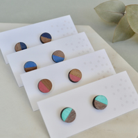 Mini half painted circle stud wooden earrings