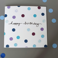 Happy birthday card with blue dots