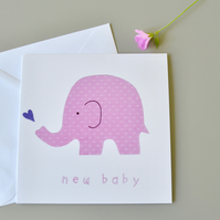 New Baby Card with pink elephant with purple heart