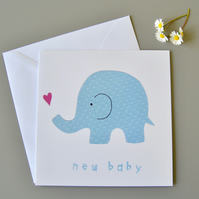 New Baby Card with blue elephant with pink heart