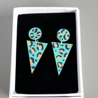 Leopard Print Painted Two-part Dangly Earring with Triangle