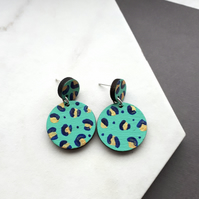 Double Circle Leopard Print Painted Wooden Drop Earrings