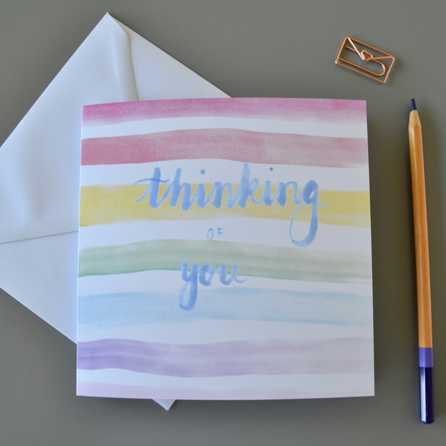 Thinking of You card with rainbow watercolour stripes