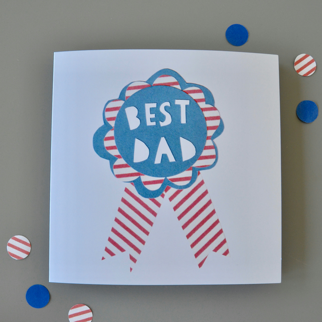 Best Dad Father's Day Rosette Card