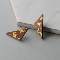 Wooden Triangle Ear Studs with Gold Leaf