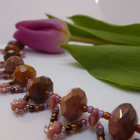 Semi Precious Gemstone Necklace, Mookaite Jasper Beads Gift for Her