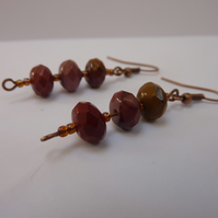 Mookaite Earrings Semi Precious Gemstones Jasper Dangle Christmas Gift