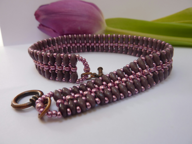 SALE  Bracelet Beaded Jewellery Mauve Pink Beads SuperDuo Beads Gift Summer