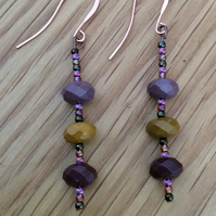 Semi Precious Gemstone Earrings Mookaite Stone Earrings Gift Gemstone Jewellery
