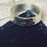 Hammered Ring, Silver Ring, Wide Ring, Silver Jewellery, Handmade, CUSTOM MADE