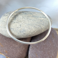 Solid round silver bangle, 3mm thick. LARGE size