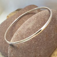 Plain sterling silver bangle, silver jewellery - Medium Size