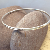 Sterling silver plain bangle - Large Size