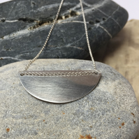 Sterling Silver Pendant, Semi Circle, Geometric Jewellery, 925, Necklace
