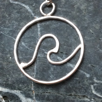 Sterling silver wave necklace pendant - Made to order