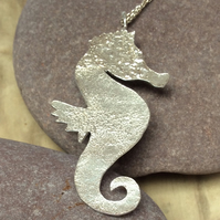 Silver seahorse pendant, necklace, sterling 925, reticulated, textured, organic