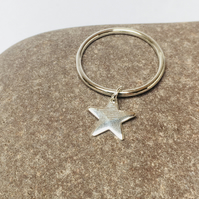 Silver ring with a star charm, sterling silver, midi ring, thumb ring, unique