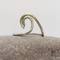 Silver wave ring, simple silver ring, handmade