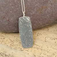 Sterling silver embossed pendant, textured pattern, silver necklace, handmade