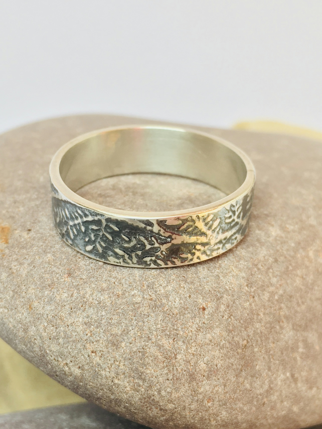 Oxidised sterling silver ring, fern pattern, silver band, unisex jewellery