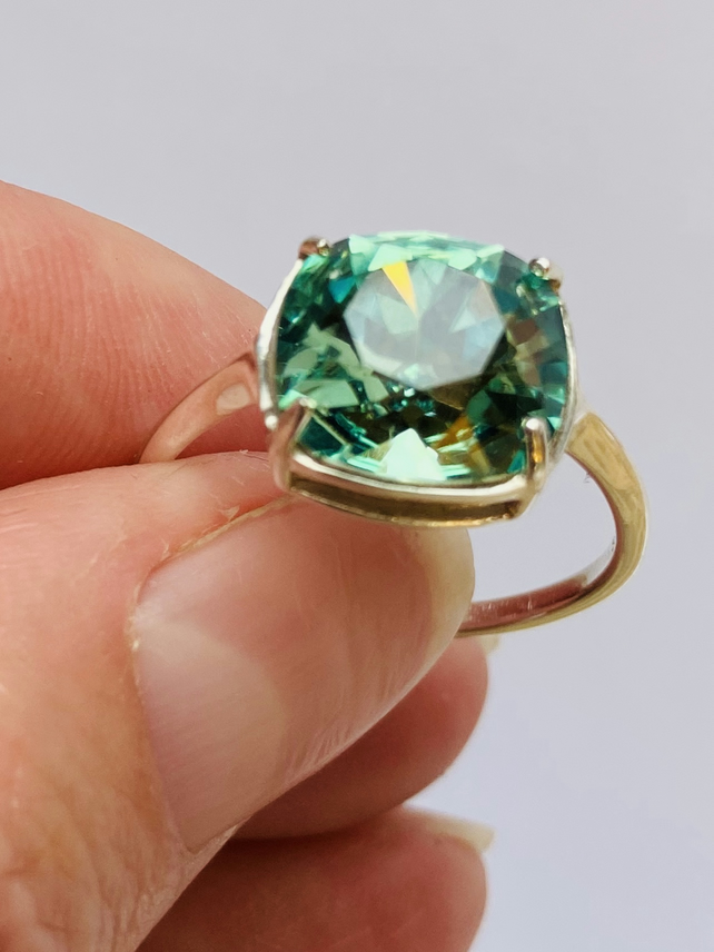 Genuine Swarovski Crystal Ring, Sterling Silver Ring, Erinite, Green Crystal