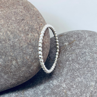 Beaded silver ring, stacking ring, simple ring, sterling silver jewellery