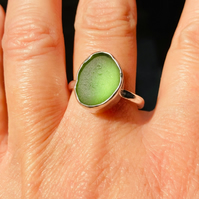 Green Seaham sea glass ring, sterling silver, sea stone, beach jewellery