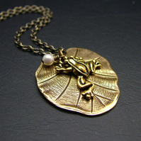 Frog on a Lilypad Necklace in Antiqued Brass